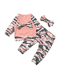 Amanod 3 Piece Baby Girls Camouflage Bow Long Sleeve Tops + Long Pants Outfits