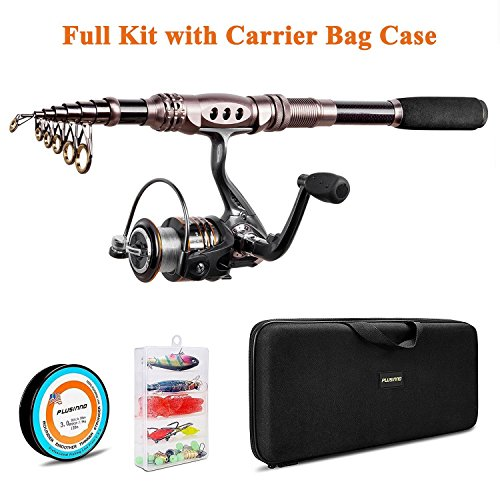 PLUSINNO Spinning Rod and Reel Combos Telescopic Fishing Rod Pole with Reel Line Lures Hooks Fishing Carrier Bag Case and Accessories Fishing Gear Organizer (2.7M 8.86FT Fishing Gear Organizer) ()