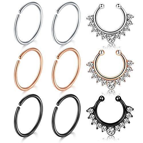 MODRSA Fake Nose Ring Hoop, 9pcs Rose Gold SilverFaux Fake Lip Ear Nose Septum Ring Non-Pierced Clip On Nose Ear Rings ()