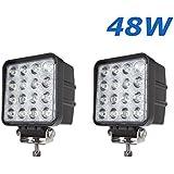 """2 X 48W 4.3"""" work light 4560LM faro da lavoro a LED da usare come proiettore abbagliante anabbagliante fendinebbia fanalino luce anteriore e posteriore ecc per autoveicoli fuoristrada barche trattori camion veicoli industriali 12V 24V"""