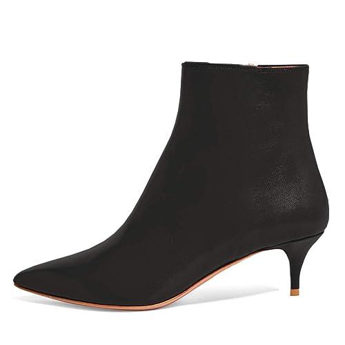236e6bef8b6 Lutalica LTBX002 Women s Pointed Toe Low Kitten Heel Zipper Comfort Dress Ankle  Boots Shoes Matte Black