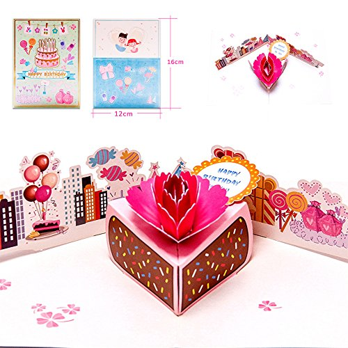 Dreamen Mothers Day pop-up cards,craft 3D Greeting Card cards mum's birthday Wedding Invitation Card Lovers birthday Couple's Happy Anniversary (love dessert)