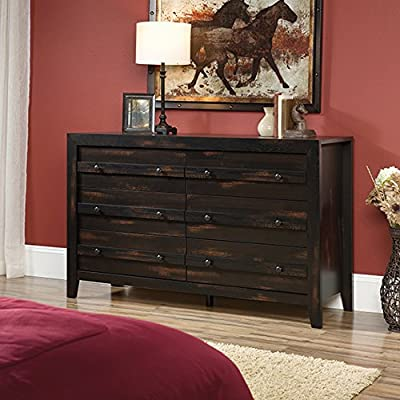 Sauder Dakota Pass 6-Drawer Dresser, Char Pine finish - Drawers with metal runners and safety stops feature patented t-lock assembly system for easy assembly Quick and easy assembly with patented slide-on Moldings - because we know your time is valuable Charcoal Pine finish - dressers-bedroom-furniture, bedroom-furniture, bedroom - 51vkToQ C3L. SS400  -