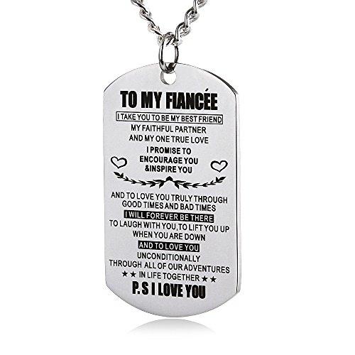ZJFHTD to My Fiance Fiancee Dog Tag Necklace Future Husband Wife Boyfriend Girlfriend Valentine Engagement Celebration (Silver-to My Fiancee)