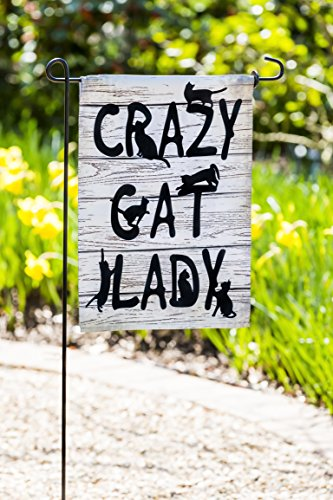 Evergreen Crazy Cat Lady Outdoor Safe Double-Sided Suede Gar