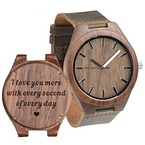Engraved Wood Watches for Men Leather Strap - I Love You More Every Second - Personalized Birthday...