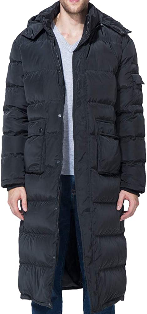 Tapasimme Men's Winter Warm Down Coat Men Packaged Down Puffer Jacket Long Coat with Hooded Compressible