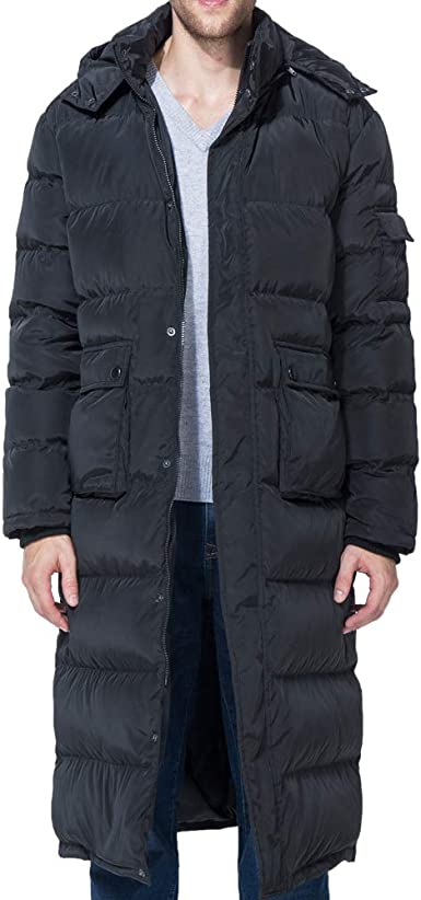 YYear Men Winter Lightweight Hooded Packaged Warm Compressible Long Puffer Jacket