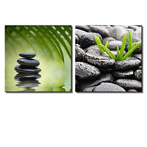Two Piece Rocks on a Lake with Palm Leaves on Background and Rocks with Raindrops on 2 Panels