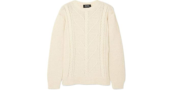 Apc Womens Morbiham Cable Knit Cotton Pullover Sweater Large