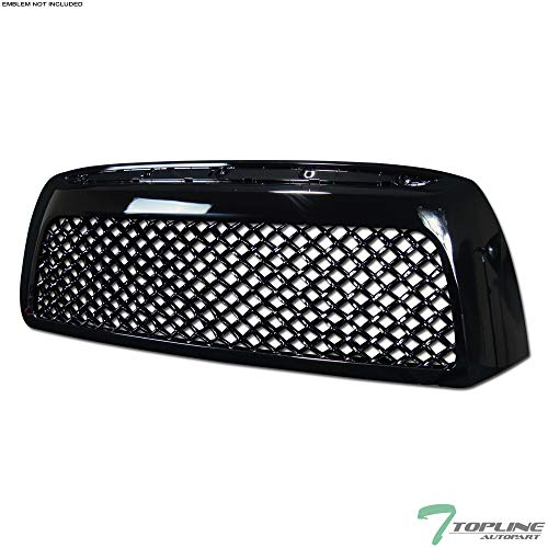 Topline Autopart Black Tr-Sport Mesh Front Hood Bumper Grill Grille Cover ABS 07-09 Toyota Tundra ()
