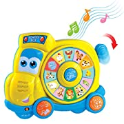 SainSmart Jr.. HAP-P-KID Preschool Spinning Learning School Bus, Animal Learning Toys with Realistic Sounds and Quiz Mode