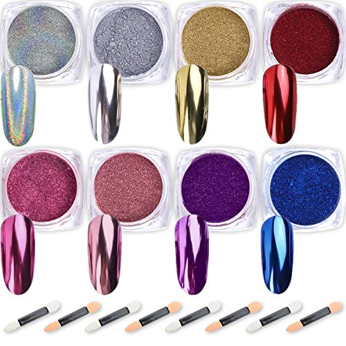 Nail Powder Wenida 8 Colors 1g/Jar Premium Mirror Laser Synthetic Resin Powder Manicure Art Decoration With 8pcs Eyeshadow Sticks (Is Champagne Blue What)