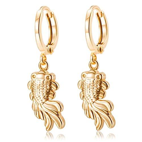 14k Goldfish Hook Earrings (Iuhan Popular Retro Little Goldfish Platinum Zircon Pendant Drop Stud Earring)
