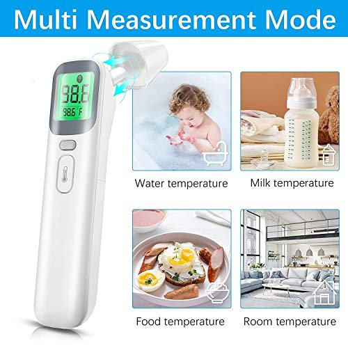 Forehead Thermometer Touchless Infrared Thermometer for Adults and Kids | Digital Thermometer for Body and Object Temp Measurement, with Timely Accurate Reading, Fever Alarm, Memory Function (Grey)