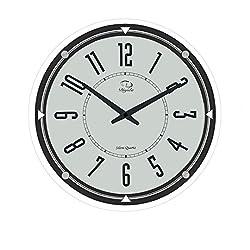 SMC 14-inch Modern Non Ticking Silent Quartz Analog Digital ,Ultra Thin Round Glass Wall Clock