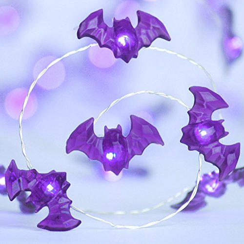 Halloween LED String Lights, Impress Life Bat / Batman Halloween Themed Copper Flexible Wire 10 ft Purple Bat 40 LEDs with Remote for Covered Outdoor, Cosplay Parties Home Bedroom Hall (The Story Behind Halloween)