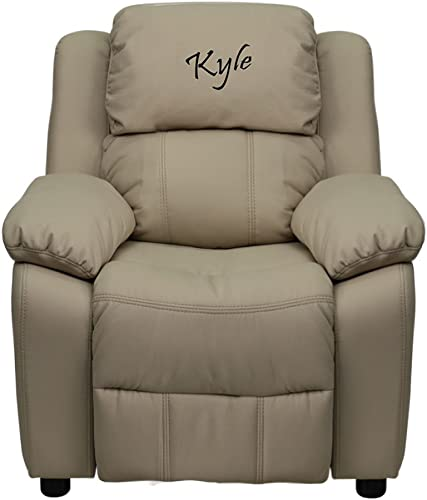 Personalized Deluxe Padded Beige Vinyl Kids Recliner Chair