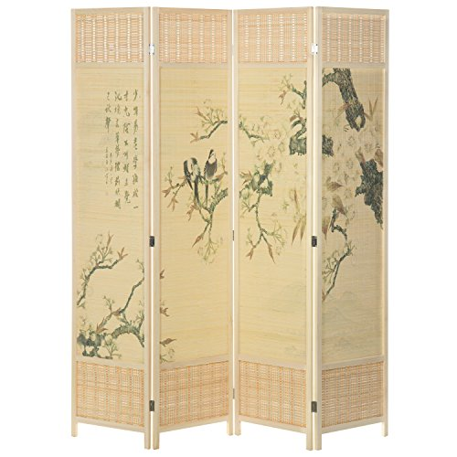 MyGift Asian-Inspired Bamboo 4-Panel Room (Japanese Inspired Wood)