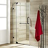 VIGO Pirouette 30 to 36-in. Frameless Shower Door with .375-in. Clear Glass and Antique Rubbed Bronze Hardware