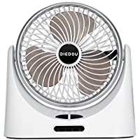 COMLIFE Battery Operated Desk Fan, Portable Personal Air Circulation Fan Power Bank Function, 4000mAh Rechargeable batteries, LED Light, 3 Wind Speeds, Quiet Operation, Perfect Home & Office