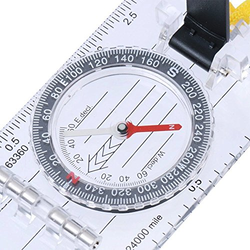 BARGAIN HOUSE Professional Orienteering Mini Thumb Compass With Map Measuring Scale Outdoor Hiking Map Compass Camping Hiking Travel Accessories (Measure Compass Map)