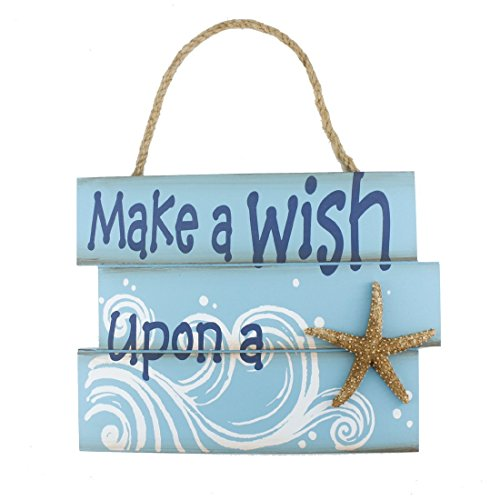 "10.4""x8"" Nautical Wood Jute Rope Hanging Welcome Sign Make a Wish Upon a Starfish"