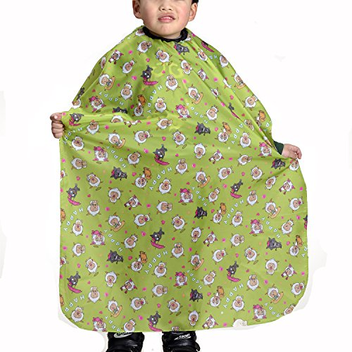 Colorfulife® Child Hair Cutting Waterproof Cape Wai Cloth Barber Kids Hair Styling Cape Professional Home Salon Camps & Hairdressing Wrap Children Cartoon Sheep Pattern Capes (Green)