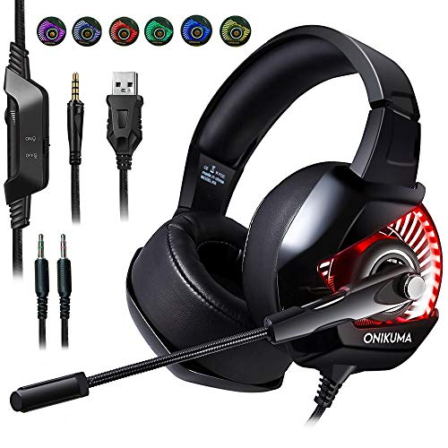 PC Gaming Headset with Mic, RGB Gaming Headset for PS4,PC,Switch,Mac, Xbox One(Adapter Needed), Volume/Mic Control, Protein Leather Soft Memory Earmuffs, Wired Gaming Headset with 2.1m Cable