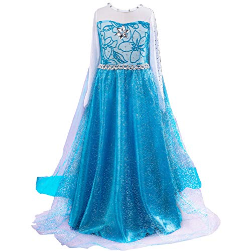 (Snow Queen Princess Elsa Costumes Birthday Party Halloween Costume Dress Up for Little Girls with Wig,Crown,Mace,Gloves Accessories 3-12 Years(Blue,Age:4-5 Years Height)