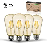 Thinklux Edison Style Filament LED ST21 Light Bulb, Vintage Amber 2200K, 7 Watt, 60 Watt Equal, Dimmable, E26 Base (Pack of 4)