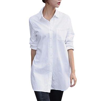 1dcda7ae2ab Women Blouse Dress Boyfriend Style Long Sleeve Oversize Shirt Collared Tops  Loose Shirts (Asian Size