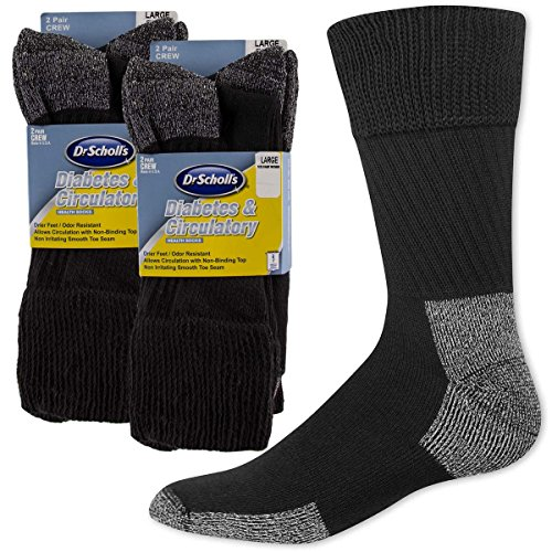 Dr. Scholl's (4 Pairs) Diabetes & Circulatory Health Crew Socks Men's Or Women's Non-Binding