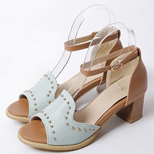 TAOFFEN Mujer Clasico Peep Toe Sandalias Tacon Ancho Tacon Medio Al Tobillo Gladiador Zapatos Azul