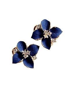 Monbedos 1 par de Pendientes de Moda con Flores de Cristal Azul, Pendientes para Mujer, Joyería de Regalo para Boda Fiesta Accesorio