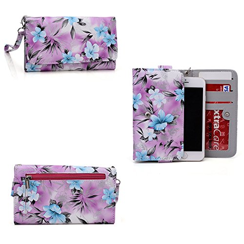 (Phone case wallet- hydrangea blue- removable wristlet strap included- Universal fit for HTC Vivid/ HTC EVO Design 4G/HTC EVO 3D CDMA)