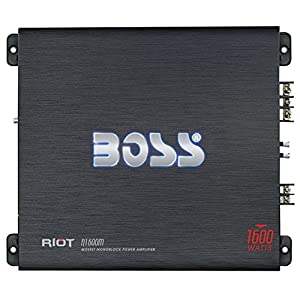 BOSS Audio R1600M - Riot 1600 Watt, 2/4 Ohm Stable Class A/B, Monoblock, Mosfet Car Amplifier with Remote Subwoofer Control