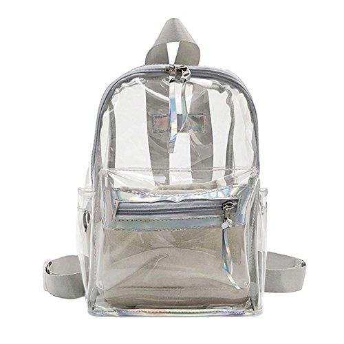 Prosperveil Creative Women Girls PVC Backpacks Clear Shoulder Bags Students Schoolbags Silver