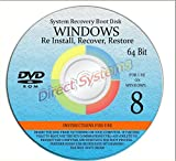 DIRECT SUPPLIER - NEW WIN 8 ANY & ALL Versions of 64 Bit Home Basic & Home Premium, Repair, Recovery, Restore, Re Install, Reinstall, Re-install & Reboot Fix Boot Disk DVD