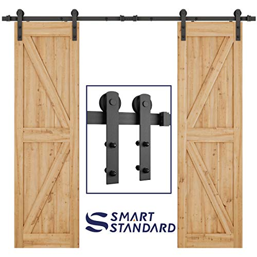 SMARTSTANDARD 8ft Heavy Duty Double Door Sliding Barn Door Hardware Kit - Smoothly and Quietly -Easy to install - Includes Step-By-Step Installation Instruction Fit 24 Wide Door Panel(I Shape Hanger)