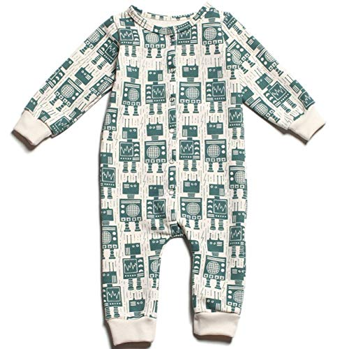 Winter Water Factory French Terry Jumpsuit Robots Teal 6 (French Terry Jumpsuit)