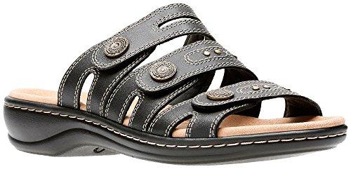 Clarks Women's Leisa Lakia Black Leather Velcro Strap Sandal Size: 7, Width: Medium