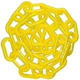 "Mr. Chain 50002-25 Plastic Barrier Chain, High Density Polyethylene with UV Inhibitors, 2"" Link x 25', Yellow"