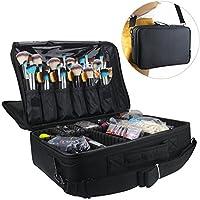 """Caja de tren de maquillaje profesional de Relavel Bolsa de cosméticos Organizador y almacenamiento de pinceles 16.5 """"Travel Make Up Artist Box 3 capas de gran capacidad con correa ajustable"""