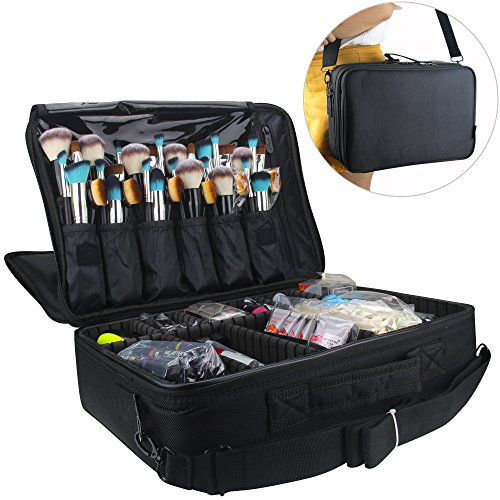 Samtour Professional Makeup Train Case Cosmetic Organizer Make Up Artist Box 2 layer Large Size with Adjustable Shoulder for Makeup Brush set Hair style nail beauty tool 16.54