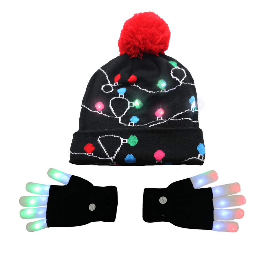 Amor LED Light up Christmas Hat Beanie Knit Cap and LED Gloves Unisex Ugly Sweater Holiday Xmas Accessories