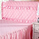 Lzttyee Thickening Cotton Bed Headboard Slipcover Protector Pure Color Dustproof Slipcovers for Bedroom Decor (Twin, Pink)