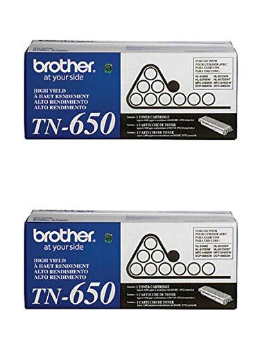 Brother Genuine TN-650 (TN650) High Yield Black Laser Toner Cartridge 2-Pack (Brother Mfc 8480dn Toner)