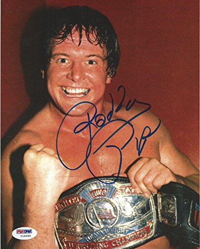 Piper Belt (Rowdy Roddy Piper Signed WWE 8x10 Photo COA Picture w NWA Belt Autograph - PSA/DNA Certified - Autographed Wrestling Photos)
