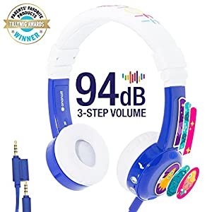 ONANOFF BuddyPhones Inflight, Volume-Limiting Kids Headphones, 3 Volume Settings of 75, 85 and 94 dB, Includes Travel Mode, Perfect for Airplanes, Trains and Cars, Built-in Audio Sharing Cable, Blue